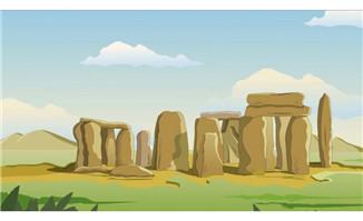世界著名建筑大石头动漫场景素材