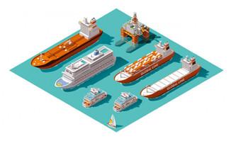 3D立体货船码头矢量素材