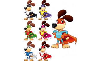 动物卡通狗形象各种颜色造型的矢量图素材_flash二维动画素材mg动画