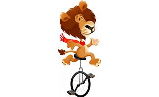 玩杂技的狮子卡通形象p