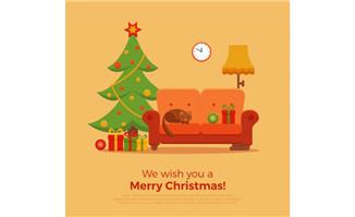 扁平化圣诞树沙发背景矢