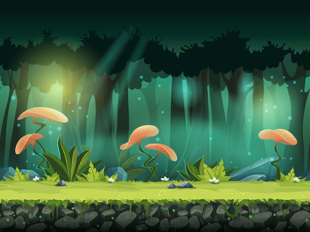 卡通森林植物风景游戏场景矢量图素材