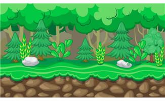 鹅卵石草地上与树木场景