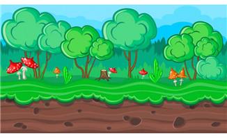 土地蘑菇树林动画矢量图