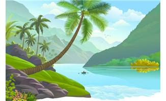 卡通河流风景二维动画场