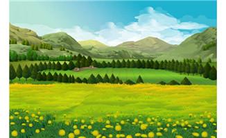 动画场景田野树木与山峰