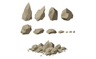 各种手绘动漫石头png透明