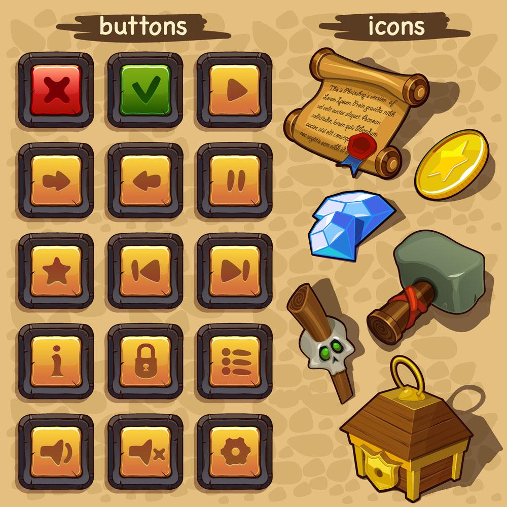主页 矢量素材 游戏元素 > 游戏ui卡通手机游戏按钮4  最新素材
