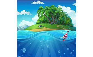 海岛游戏界面矢量素材蓝