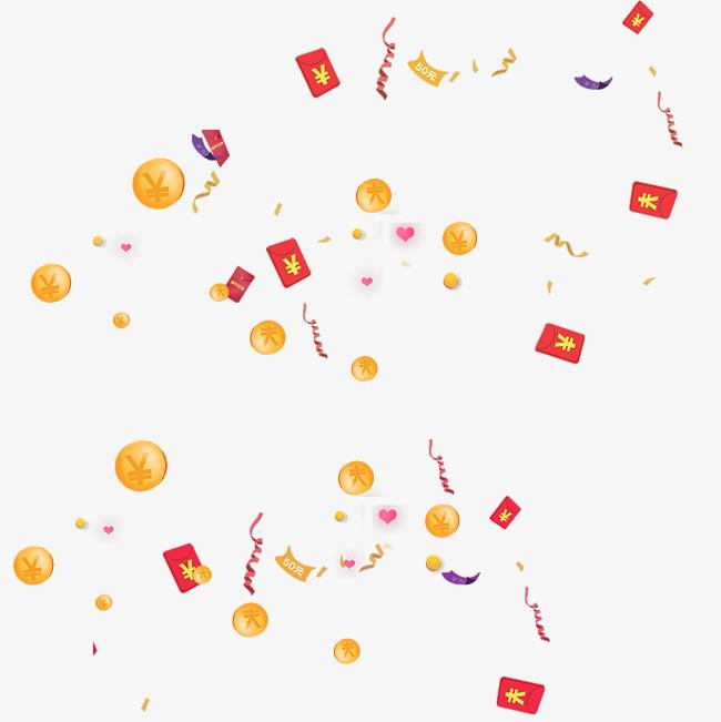 红包金币雨素材特效设计元素_flash二维动漫素材创意.