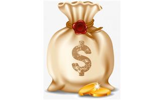 矢量图漂浮金币钱袋png图