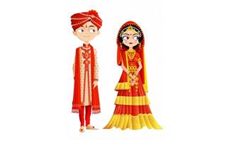 印度传统婚礼服饰矢量