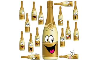 卡通香槟瓶子各种表情p