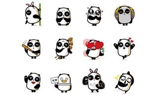 卡通形象熊猫表情矢量图