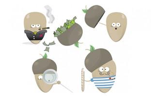 坚果类卡通形象表情素材