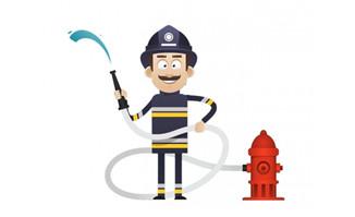 消防员卡通形象扁平化风