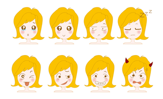 卡通女性面部表情