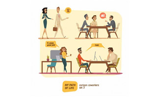 扁平化卡通医生各种表情动作设计矢量素材_漫品购_mg