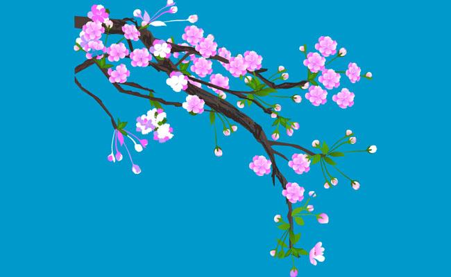 开满梅花的树枝flash素材