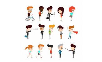 卡通各种职业卡通人物设计素材矢量图下载_flash二维动画素材mg动画