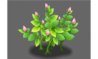 绿树长出粉色花朵flash动画