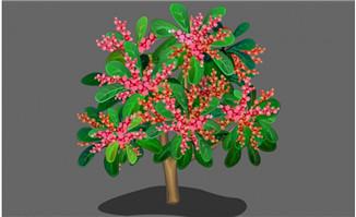 红色果子果树造型设计素