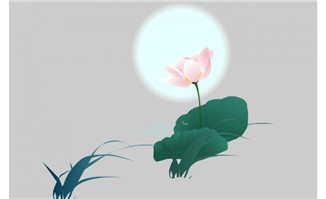 中国水墨风格荷花背景设