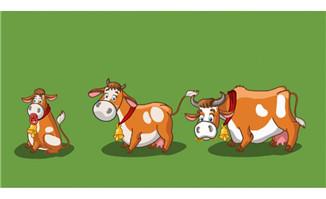 可爱的奶牛各种动作表情