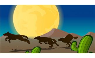 沙漠奔跑的狼狗flash动画