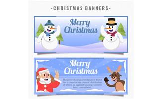 2款卡通圣诞节banner矢量素