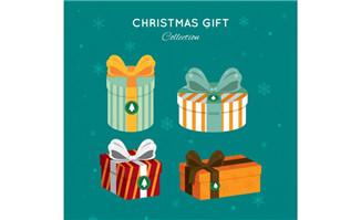 4款彩色圣诞礼盒矢量素材
