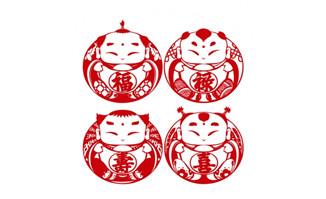 4款福禄寿喜娃娃剪纸矢量