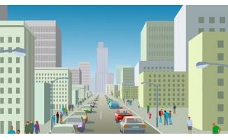 城市高楼汽车人群flash动画
