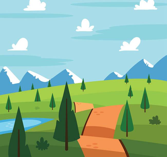 卡通雪山平原风景矢量素材_flash二维动画素材mg动画.