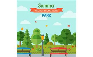 夏日公园长椅风景矢量素
