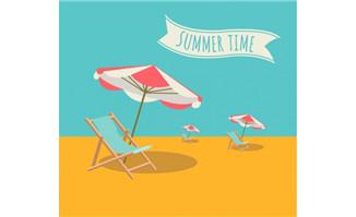 创意夏日时光背景矢量素