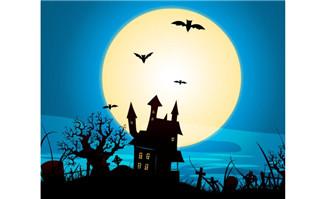 古堡月夜阴暗的夜色下夜