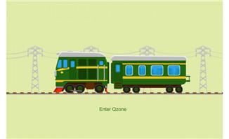 开动的绿皮火车flash动画素