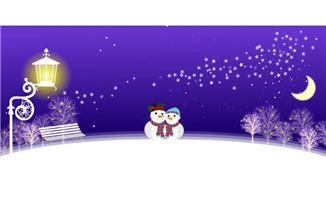 圣诞雪人夜晚flash灯光效果