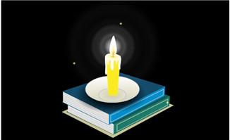 书本上燃烧的蜡烛flash动画