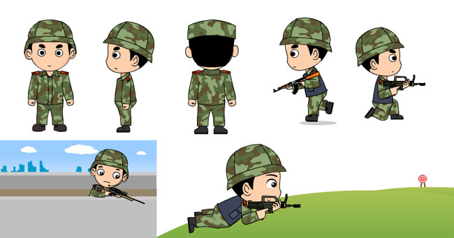 武警官兵flash卡通人物_flash二维动画素材mg动画制作