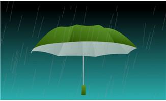 下大雨中的雨伞水滴an动画