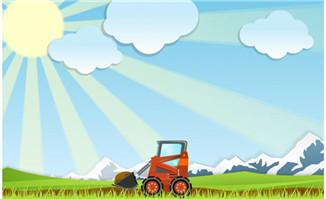 雪山绿地挖掘机flash动画