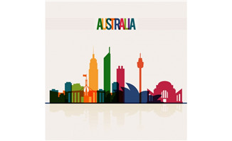 彩色澳大利亚城市剪影矢