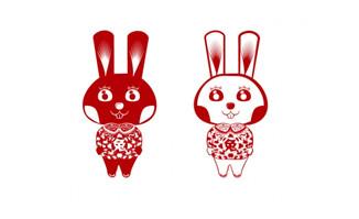 剪纸兔子矢量