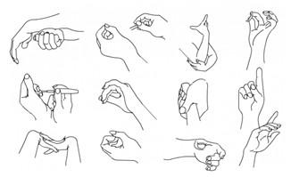 手绘手部动作设计矢量f