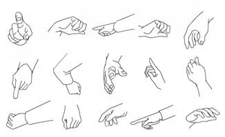 手绘手势动作矢量素材7