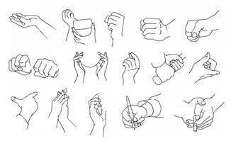 手绘手指手势矢量素材1