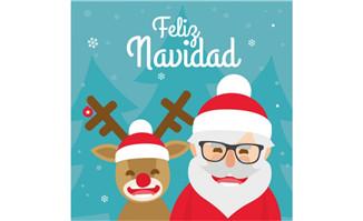 卡通白胡子圣诞老人插画