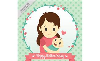 卡通母子母亲节贺卡矢量
